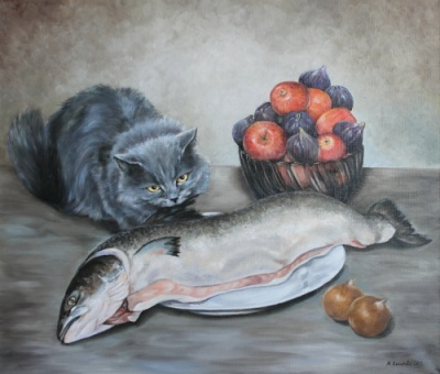 Марина Ефремова. Кошка с сёмгой. 2012. Холст, масло. 60х70