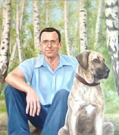 picture Марина Ефремова: Портрет Николая Ефремова с собакой Бертой